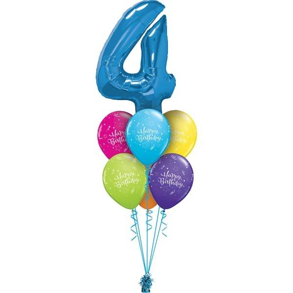 Фонтан из 6 шаров С днем рождения и Цифры