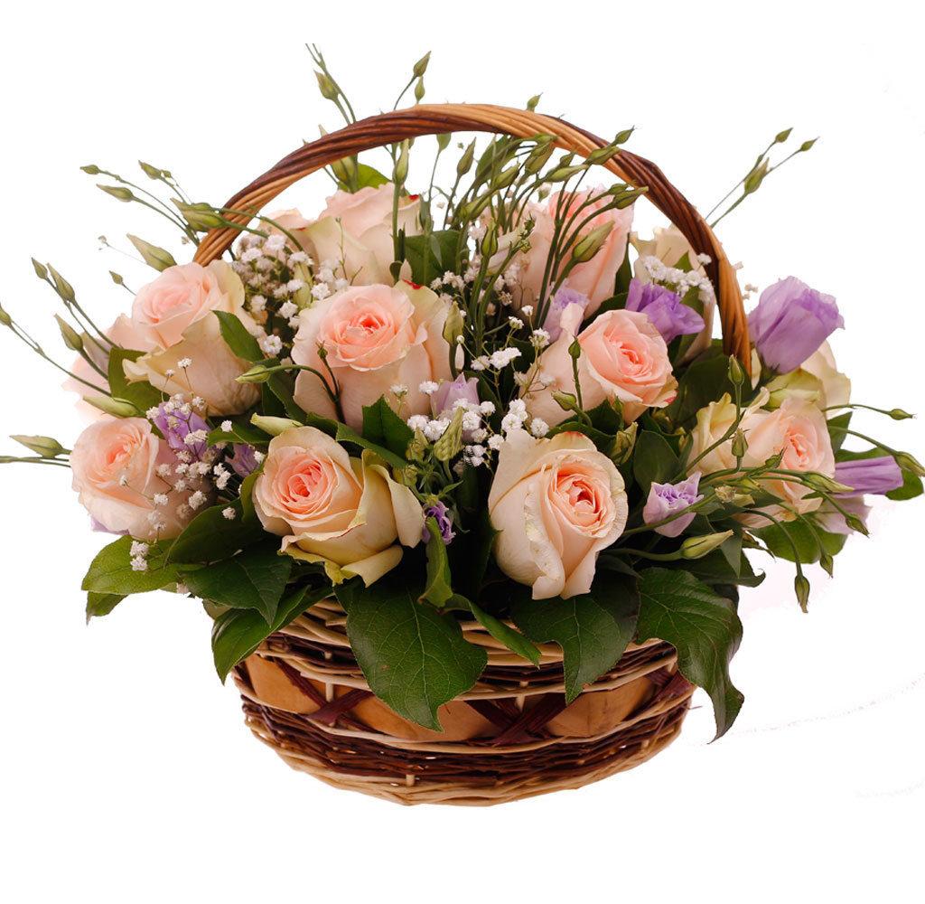 Открытка с букетом цветов в корзине, черно