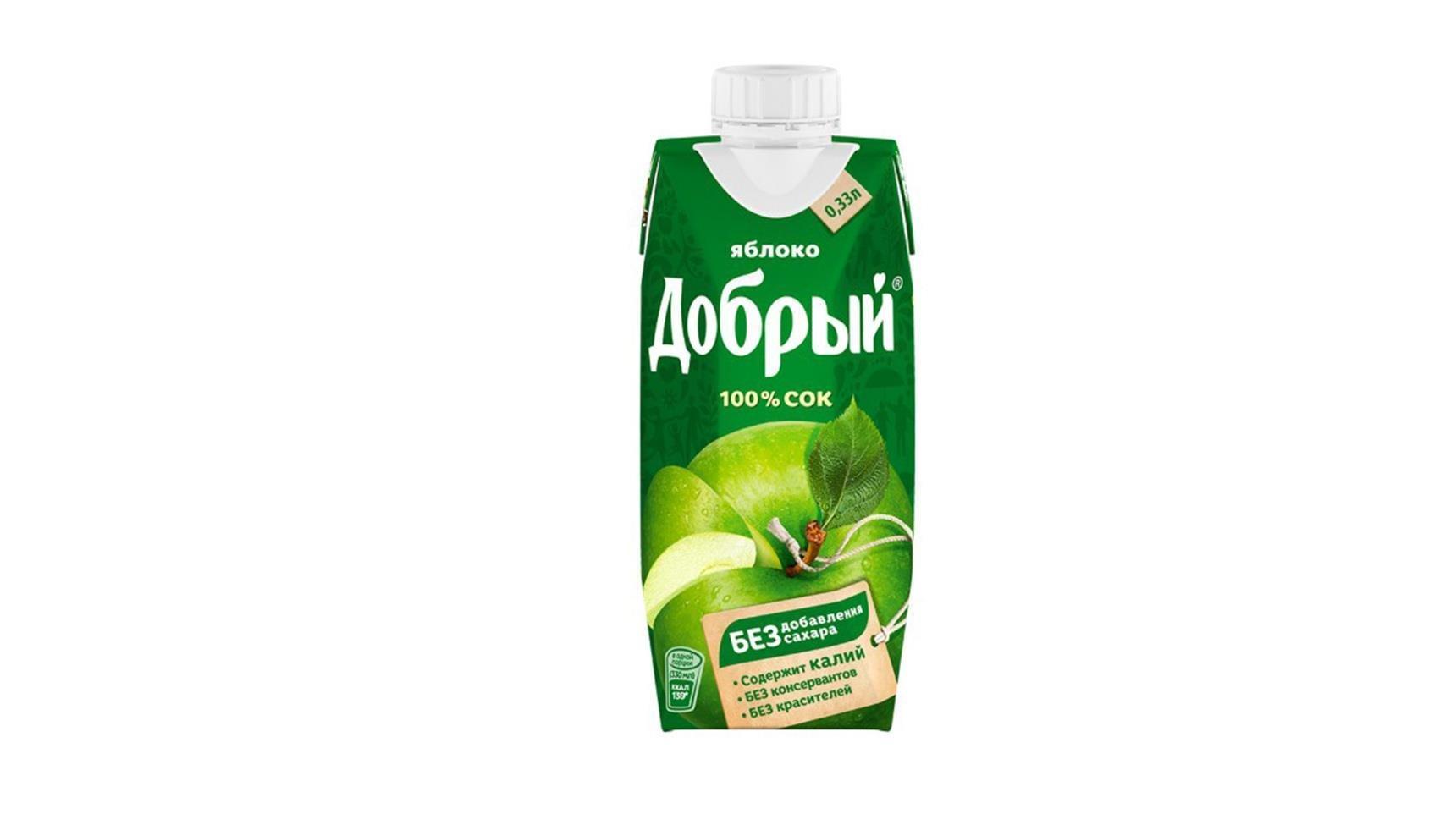 Сок Добрый яблочный 0,33л
